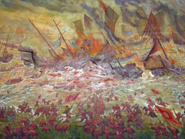 Mural of the Battle of Bach Dang at the Hanoi History Museum. Photograph by James Delgado, 2008.