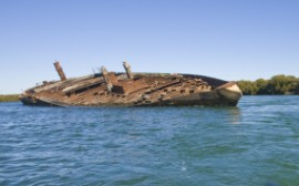 Abandoned wreck of the Santiago in the Adelaide Port River, South Australia (Photograph courtesy of Department of Environment and Natural Resources, South Australia).